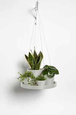 Ecopots hangend 'hangende schotel' 36 cm - Whitestone/White grey